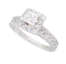 Gorgeous Princess Cut .72CTW Diamond Halo Ring