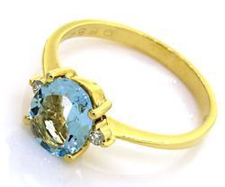 18K Aquamarine & Diamond Ring