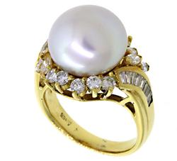 13 MM Pearl and 1.33 CTW Diamond Band in 18K
