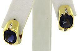 Checkerboard Iolite & Diamond Huggie Earrings in 18K