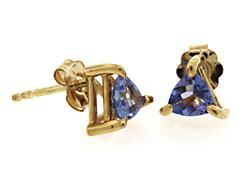 Trillion Tanzanite Stud Earrings