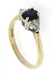 Oval Sapphire & Trillion Diamond Band