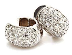 Diamond Pave Huggie Earrings at 2.0 CTW