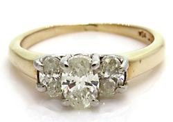 1.0 CTW Triple Oval Diamond Ring