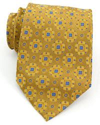 Gold & Blue 100% Silk Handmade Tie