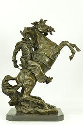 50 Lbs Old West Cowboy Horse Bronze Statue