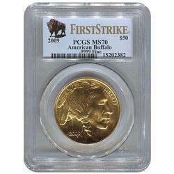 2009 MS70 Gold Buffalo $50, PCGS First Strike