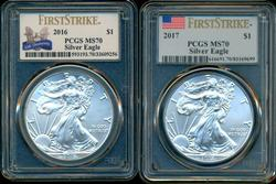 GEM 2016 & 2017 $1 Silver Eagles PCGS MS70 1st Strikes