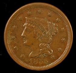 Handsome 1855 (Upright 55) Braided Hair Large Cent