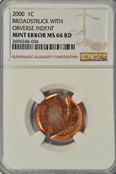 Incredible Gem BU 2000 Lincoln ERROR Cent. NGC MS66RD