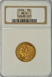 Lovely BU 1909 US $5 Indian Gold Piece. NGC MS61