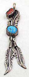 Sterling Silver Vintage Navajo Turquoise Pendant