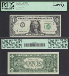 $1 FRN front/ $1 SC back==1963==DUAL TYPE==PCGS-64PPQ