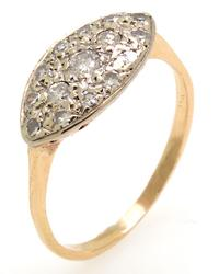 Vintage Pave Marquise Shaped Diamond Ring