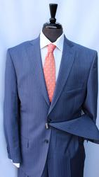 Handsome French Blue Stripe Suit By Galante