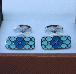 A Fun Pair Of  Turquoise Color Cufflinks By Carelli
