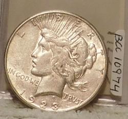 1923-S Peace Dollar, sharp, near Uncirculated