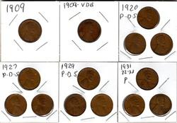 14 Different Lincoln Wheat Cents: 1909 VDB to 1933
