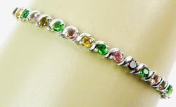 Vibrant Multi-Colored Tourmaline Sterling Bracelet