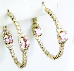 Signed Sterling Rose Gold Inside/Out Hoop Earrings
