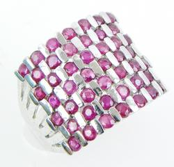 Wide Ruby Checkerboard Sterling Ring