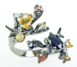Nature Inspired Sterling Branch Ring with Sapphires