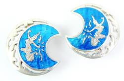 Vintage Siam Sterling Enameled Earrings