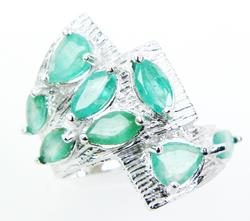 Big Chunky Sterling Ring of Columbian Emeralds