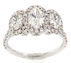 Custom Design Triple Oval Diamond Halo Ring in 18K