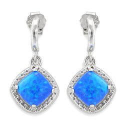 Sterling Silver And Created Opal Earrings