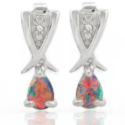 Created Black Opal Earrings