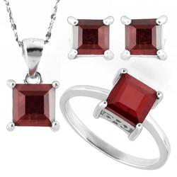 Sterling Silver 5ctw Ruby Jewelry Set