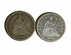 1860 and  1862 Civil War Seated Quarters
