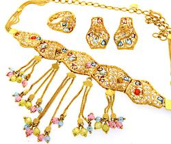 Exquisite Scalloped Link 21K Yellow Gold Jewelry Set