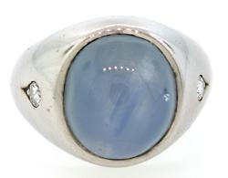 Gents Star Sapphire Ring with Diamonds