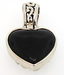 Vintage Sterling Silver Black Onyx Pendant