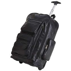 Black Leather Rolling Tote Carry On Luggage
