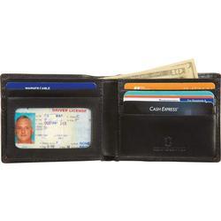 Mens Bi-Fold Leather Flame Design Wallet