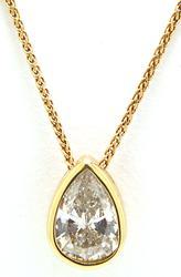 Bezel Set Diamond Pear Shaped Pendant