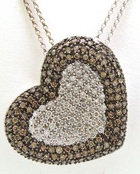 White & Chocolate Pave Diamond Heart Pendant