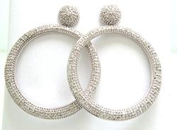 Pave Set Circle Dangle Earrings