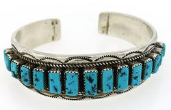 Vintage Sterling Silver Turquoise Bangle