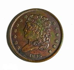 1835 BU Half Cent Dark Red Color