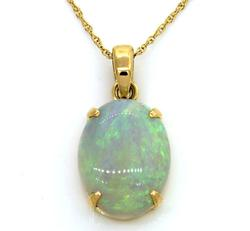 Cabochon Opal Pendant Necklace in 18K