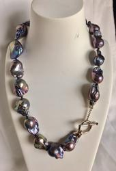 19 inches large fresh water baroque pearl necklace
