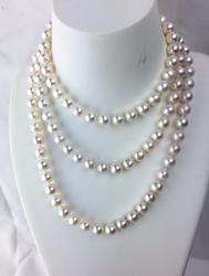40 inches long fresh water 8mm perfectly round white pearl necklace