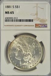 Super Gem BU 1881-S Morgan Silver Dollar. NGC MS65
