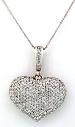 Heart Shape 3ctw Pave Diamond Pendant in 14kt Gold
