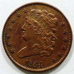 Estate BU 1834 Half Cent You wont find a nicer one raw