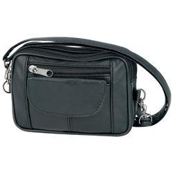 Ladies Black Leather Adjustable Small Handbag
